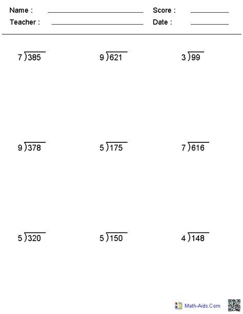 division worksheets math aids kagrade6