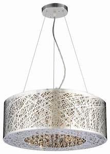 Nest drum shaped chrome modern pendant light