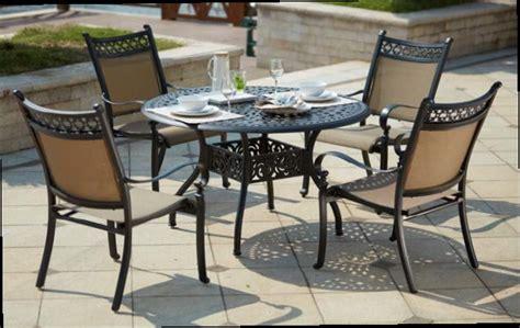 patio furniture aluminum sling dining set 48 quot table