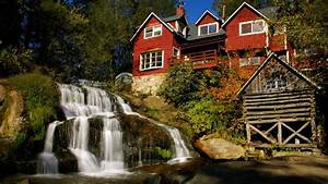 Waterfall, House, Hd, Wallpaper