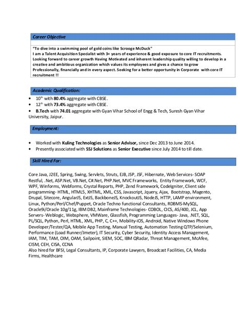 Talent Acquisition Resume Objective by Acquisition Manager Resume Sle Talent Frudgereport793