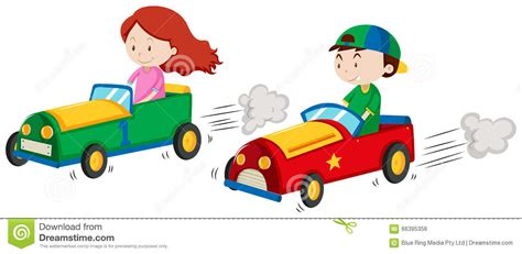 Boy And Girl In Racing Car Stock Vector. Illustration Of