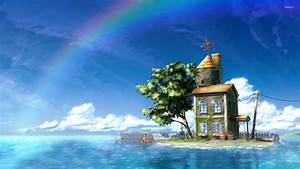 Small house on the little island wallpaper