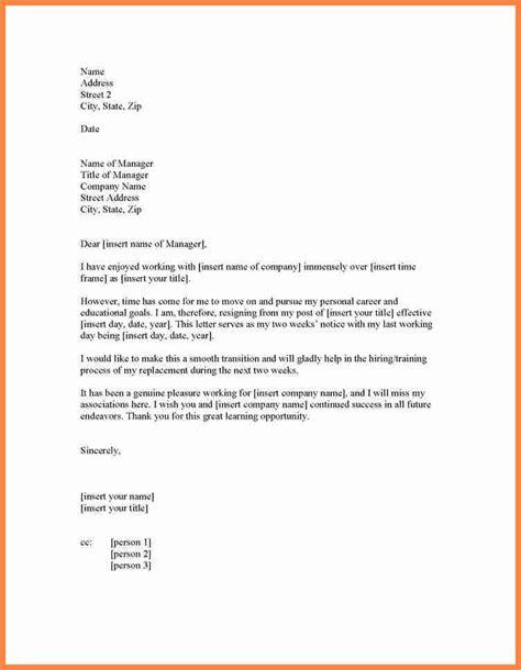 formal  week notice letter resignation notice letter