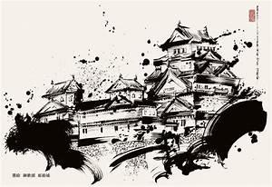 Maison Japonaise Dessin : dessin ch teau de himeji sumie e japon par okazu ~ Melissatoandfro.com Idées de Décoration