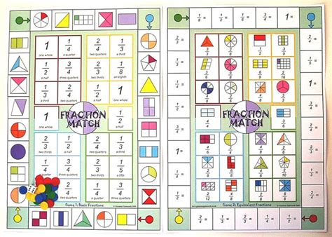 image  fraction match board game math games fractions