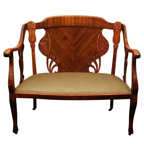Wood Settee Furniture by Nouveau Mahogany Settee Austria Early 1900 S