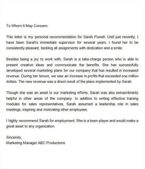 sle recommendation letter for employee from manager