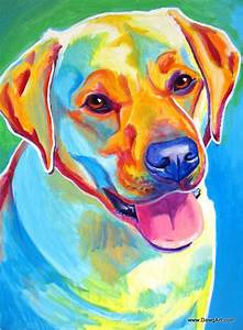 Colorful Pet Portrait Labrador Dog Art Print by dawgpainter