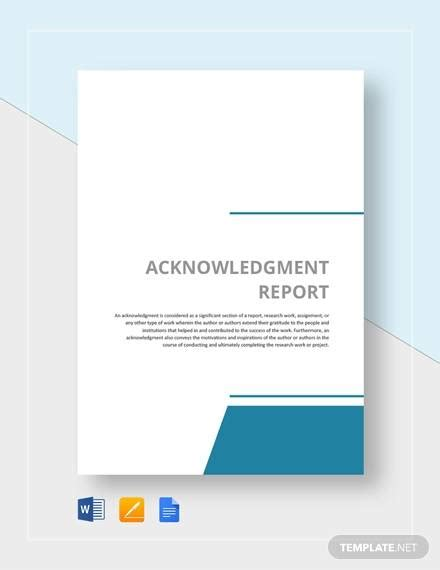 sample acknowledgment report templates  ms word