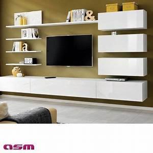 Meuble Sous Tv Suspendu : meuble hifi suspendu meuble sous tele murale objets decoration maison ~ Teatrodelosmanantiales.com Idées de Décoration