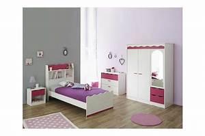 Chambre Enfant Blanc : chambre coucher enfant compl te pin lasur blanc et framboise ~ Teatrodelosmanantiales.com Idées de Décoration