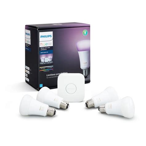 philips hue white and color ambiance a19 led 60w equiv dimmable smart wireless lighting starter