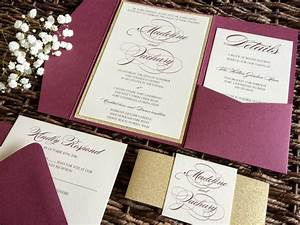 Burgundy wedding invitation burgundy and gold glitter pocket for Wine red and gold wedding invitations