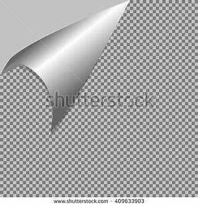 Curled Corner Paper Shadow On Transparent Stock Vector