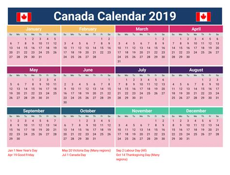 Canada Holidays 2019 Calendar Download