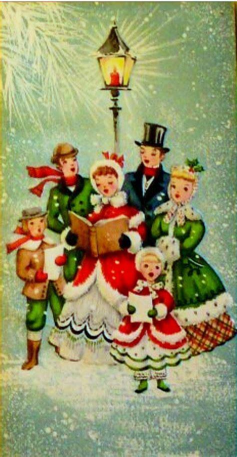 christmas carolers people   door