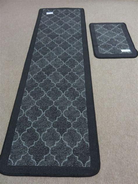 black grey soft short pile kitchen runner rug  slip