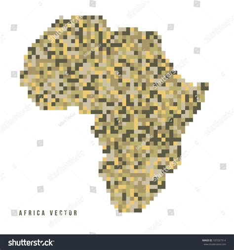 a vector outline of the continent of africa in a pixel