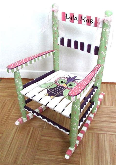 painted child rocking chair custom painted owl
