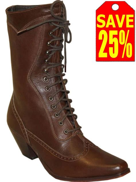 bootamerica rawhide womens brown victorian lace  boot