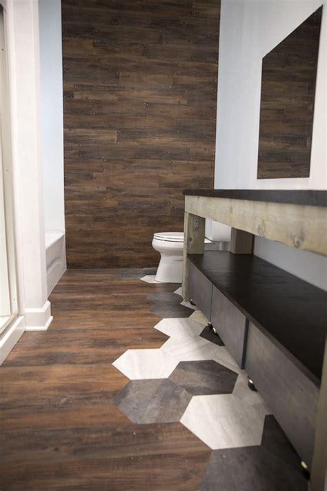 bathroom makeover blogger  builder grade tile floor