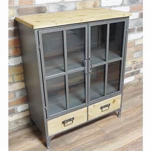 Metal Industrial Style Glazed Cabinet