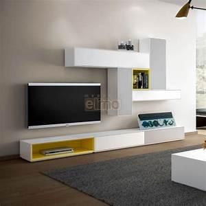 Meuble Design Tv Mural : ensemble meuble tv mural composable design laque bicolore ~ Teatrodelosmanantiales.com Idées de Décoration