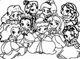 Coloring Cute Disney Princess Pages Baby sketch template