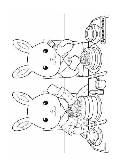Sylvanian Coloring Calico Families Critters Pages Fun
