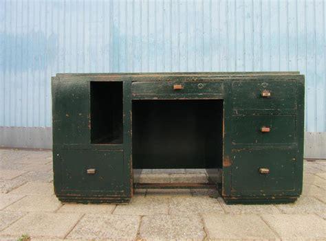 bureau vintage industriel industriel houten kubistisch bureau