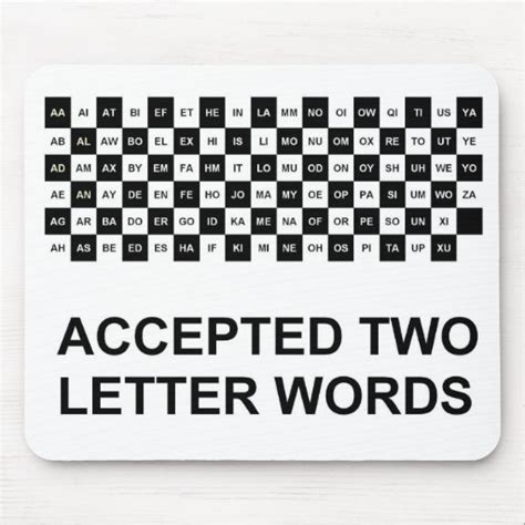 Two Letter Words Mouse Pad Us Version Zazzle