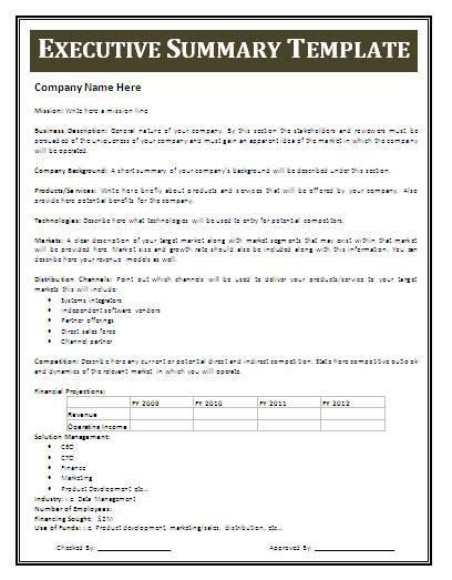 free executive summary template executive summary template free business templates