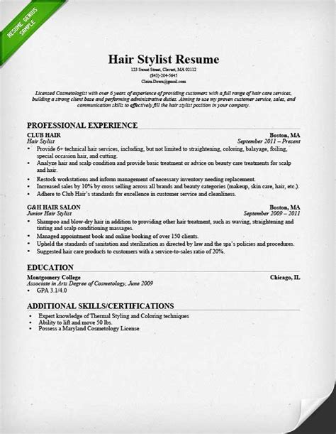 Hairdressing Resumes by Hair Stylist Resume Sle Writing Guide Rg