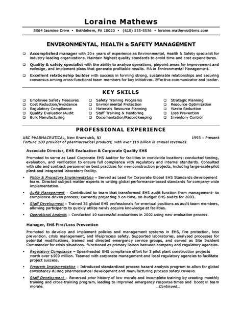 Resume Health And Safety by Environmental Health Safety Sle Resume