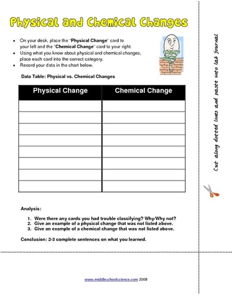 worksheet physical and chemical changes worksheet