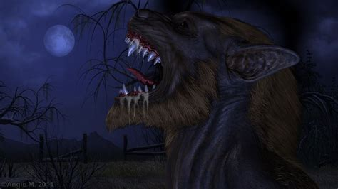 Dark Horror Fantasy Art Werewolf Halloween Fangs Wallpaper