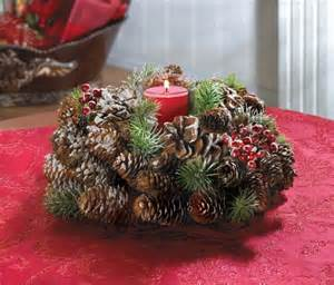 frosted pine cone wreath candleholder christmas centerpiece christmasshack