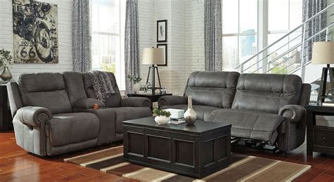 Austere Gray Reclining Living Room Set From Ashley Front Door Initial Wreath French Doors For Closet Weatherstripping Fitted Colours Uk Top Rated Refrigerator Kitchen Cabinets Replacement Fronts Problems With Samsung