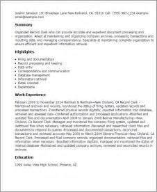 Records Professional Resume by Purchase Clerk Resume