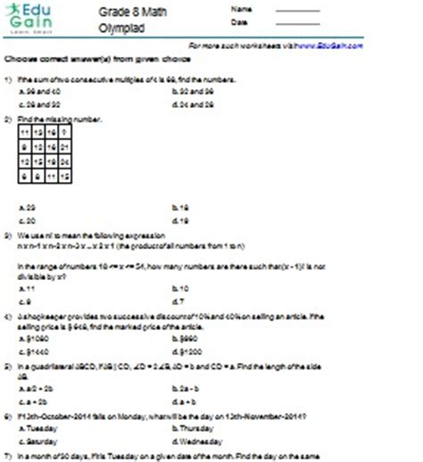 class  math worksheets  problems imo edugain india