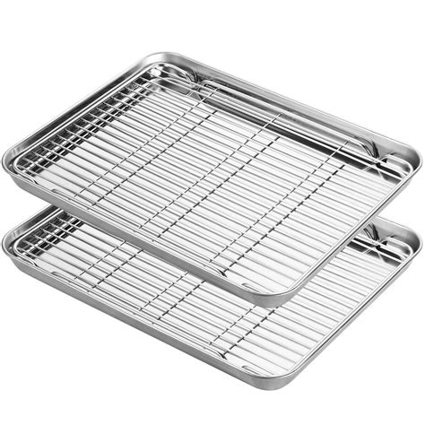 baking rack pans stainless steel oven chef convection hkj nonstick pan sheets cookie toaster biscuit coo cooling tray shopee rectangle
