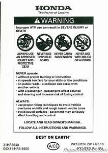 2018 Honda Trx420tm1 Fm1 Fm2 A Ce Atv Owners Manual
