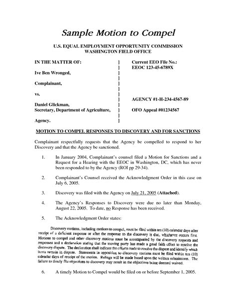motion template best photos of sle motion to compel bankruptcy motion compel discovery sle sle