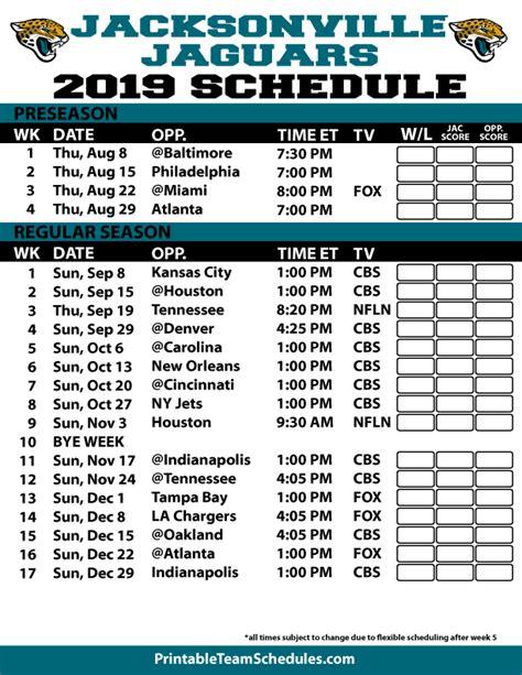 jaguar schedule 2020 nfl season schedule 2015 printable