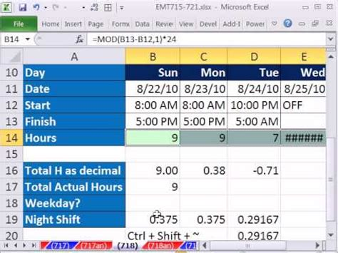 excel magic trick 718 calculate hours worked day or shift subtract lunch youtube