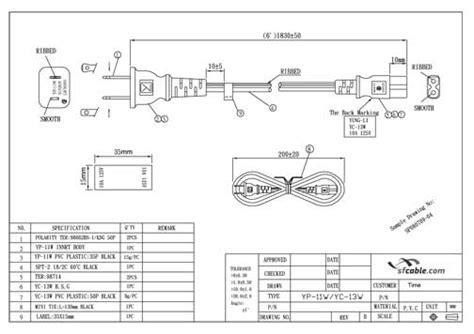 6ft 18 awg 2 slot polarized power cord iec320 c7 to nema