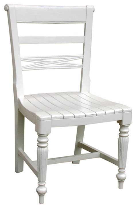 cottage style wooden seat side chair white farmhouse