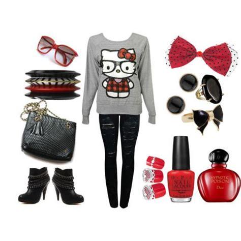 nerdyoutfits fashion nerdy kitty outfit  nerdy