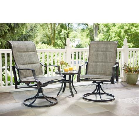 hton bay statesville padded sling patio lounge swivel